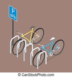 Isometric Bicycle Parking. Flat style, vector.