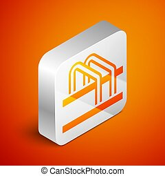 Isometric Bicycle parking icon isolated on orange background. Silver square button. Vector