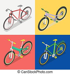 Isometric Bicycle Set with Extreme and Road Bike. City Transport. Vector flat 3d illustration