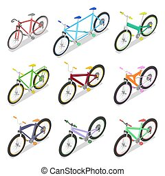 Isometric Bicycle Set with Mountain Bike and Tricycle. City Transport. Vector flat 3d illustration