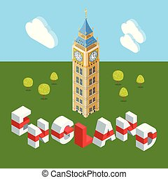 Isometric Big Ben building
