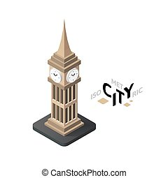 Isometric big ben icon, building city infographic element, vector illustration
