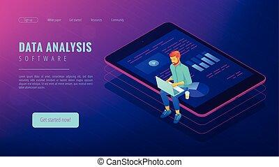 Isometric big data analysis concept.
