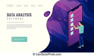 Isometric big data analysis landing page concept.