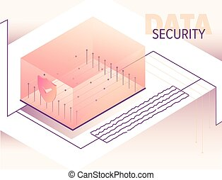 Isometric big data processing concept illustration