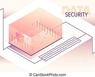 Isometric big data processing concept illustration