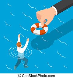 Isometric big hand giving a lifebuoy to help businessman.