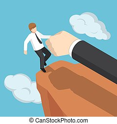 Isometric big hand help businessman not to fall off the cliff.