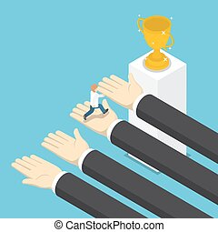 Isometric big hands help businessman to success