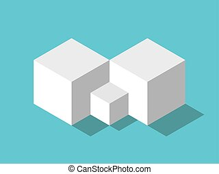 Isometric big, small cubes - Abstract couple of two big ...
