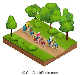 Isometric bikers on bicycle with travelling bag for travel....