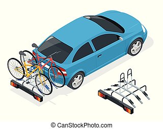 Isometric Bikes Loaded on the Back of a Van. Car and Bicycles. Flat style vector illustration isolated on white background.