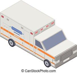isometric, bil, nymodig, stil, ambulans, ikon