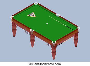 Isometric billiard table.Green table with balls and cue...
