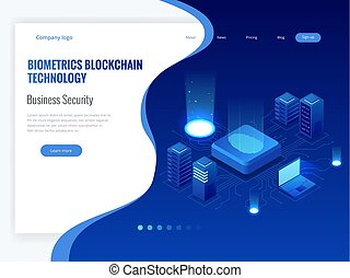 Isometric Biometrics Blockchain Technology and Finger Print Scanning Identification System. Biometric Authorization and Business Security Concept.