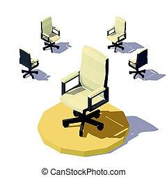 isometric, biuro, poly, wektor, niski, krzesło
