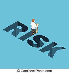 isometric, biznesmen, wspinaczkowy do góry, z, ryzyko, otwór