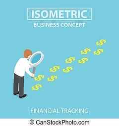 isometric, biznesmen, z, szkło powiększające, przeglądnięcie, ciągnąć, od, dolar