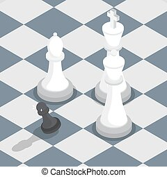 Isometric black pawn surrounded by white king queen bishop on the chessboard