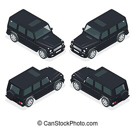 Isometric Black VIP Car. Cross country vehicle. Mid-size four-wheel drive luxury SUV. Flat 3d high quality city transport icon set.