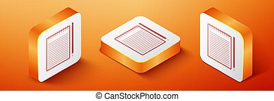 Isometric Blank notebook and pencil with eraser icon isolated on orange background. Orange square button. Vector
