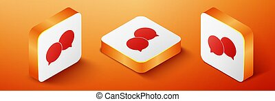 Isometric Blank speech bubbles icon isolated on orange background. Orange square button. Vector