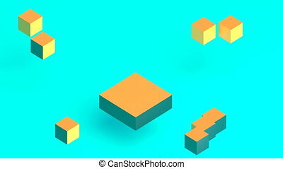 isometric block assembly concept design. Business design. minimalistic cover footage 4k