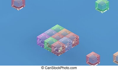 Isometric block assembly Team building concept animation minimalistic cover footage