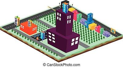 isometric block cartoon world