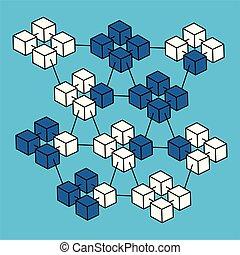 Isometric block chain vector. - Networking block chain...