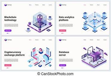 Isometric blockchain cryptocurrency mining technology vector illustration, cartoon 3d block chain digital money miner farm, transfer exchange market
