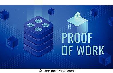 Isometric blockchain proof of work vector illustration. - ...