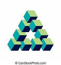 isometric, blokje, driehoek, meldingsbord, vorm, onmogelijk
