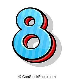 Isometric Blue And Red Number Eight For Any Design Vector Illustration