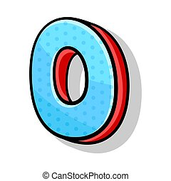 Isometric Blue And Red Number Zero For Any Design Vector Illustration Cartoon Style