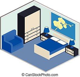 Isometric blue bedroom interior