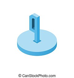 Isometric blue four icon on disk, 3d character
