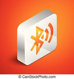 Isometric Bluetooth connected icon isolated on orange background. Silver square button. Vector Illustration
