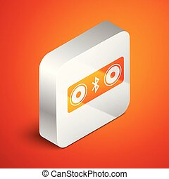 Isometric Bluetooth speakers icon isolated on orange background. Bluetooth stereo speaker. Silver square button. Vector Illustration