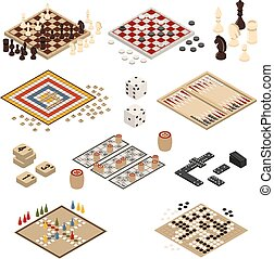 Isometric Board Games Icon Set
