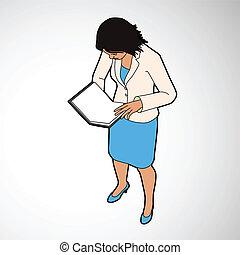 isometric, boek, lezende , vrouw