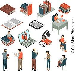 isometric, boek, set, lezende