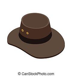 isometric, boiadeiro, estilo, ícone, chapéu, 3d