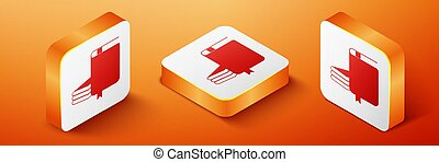 Isometric Book icon isolated on orange background. Orange square button. Vector