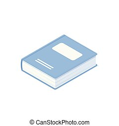 Isometric book isolated on white background.
