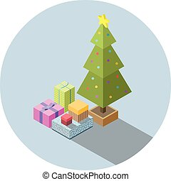 isometric, boompje, illustratie, vector, gifts., kerstmis