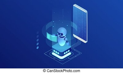 Isometric Bot and cybersecurity, artificial intelligence concept. AI and business IOT concept. Dialog help service. ChatBot free robot virtual assistance. HD Video