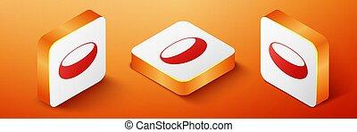 Isometric Bowl icon isolated on orange background. Orange square button. Vector
