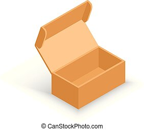 isometric, box., aberta, packaging., entrega, vetorial, shipping., papelão, transporte