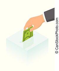 isometric, box., dinheiro, ilustração, mão, vidro, doação, vetorial, pôr